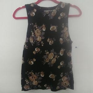 Forever 21 black floral tank small